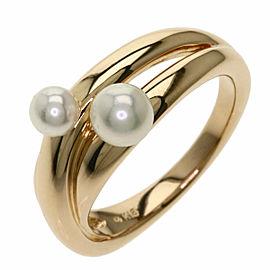MIKIMOTO 18K Pink Gold Akoya Pearl Pearl 2P Ring TNN-2039