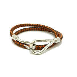 HERMES Leather Jumbo Hook Double Wrap Bracelet