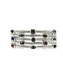"David Yurman Sterling Silver 5-Row ""Berry"" Multi Stone Confetti Cuff Bracelet"