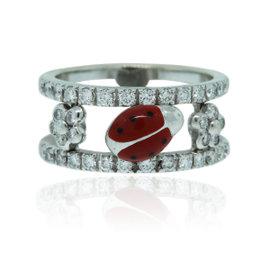 Aaron Basha 18K White Gold Diamond Ladybug Ring Size 5