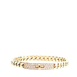 Hermes Kelly Gourmette Bracelet 18K Rose Gold and Pave Diamonds Extra Small