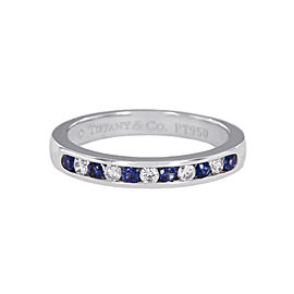 Tiffany Diamond & Sapphires Platinum Wedding Band size 7