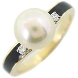 MIKIMOTO 18k yellow gold/Pearl/diamond Pearl Ring