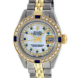 Rolex Datejust Ladies SS & 18K Yellow Gold MOP Diamond and Sapphire Watch