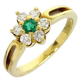 Mikimoto 18K Yellow Gold 0.34 Ct Diamond & Emerald Size 4.75 Ring
