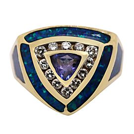 14k Yellow Gold Diamond and Colored Stone Ring