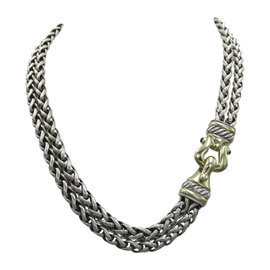 David Yurman 925 Sterling Silver and 18K Yellow Gold and Garnet Double Wheat Chain Necklace