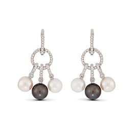 Le Vian Certified Pre-Owned Cultured Pearls and Vanilla Diamonds Earrings in 14k Vanilla Gold