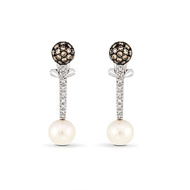 Le Vian Certified Pre-Owned Chocolatier Vanilla Pearls and Chocolate and Vanilla Diamonds Earrings in 18k Vanilla Gold