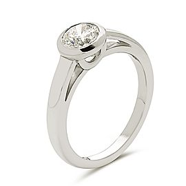 14K white gold bezal set cartier style solitaire engagement ring.