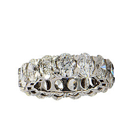 18K White Gold Oval Diamond Eternity Band Size 6