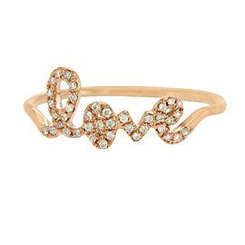 Sydney Evan 14K Rose Gold Pave Diamonds Love Ring Size 6.5