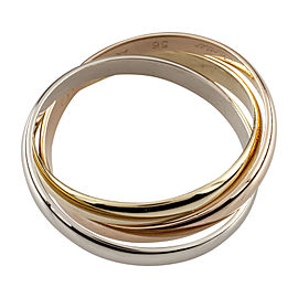 Cartier 18K White, Yellow and Rose Gold Ring Size 7.5