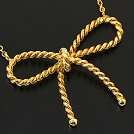 TIFFANY & CO. 18k Yellow Gold Ribbon Design Pendant Necklace