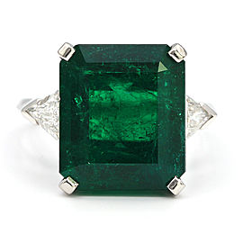 Van Cleefs & Arpels Colombian Emerald Platinum Ring Size 7.5