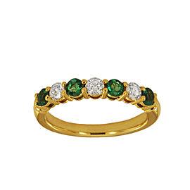Tiffany & Co 18K Yellow Gold Emerald Round Diamond Wedding Band Ring
