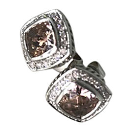 David Yurman Petite Albion Sterling Silver Morganite & Diamonds Earrings