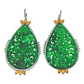 Carved Jade Diamond Citrine Gold Drop Earrings