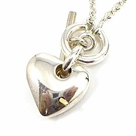HERMES Sterling Silver 18K Yellow Gold Heart Pendant Necklace CHAT-142