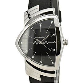 HAMILTON Ventura H244110 black Dial SS/Leather Quartz Men's Watch