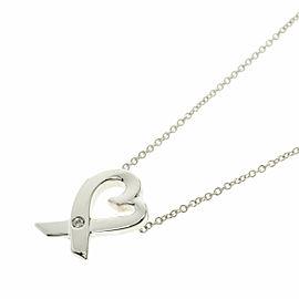 TIFFANY & Co. Silver Loving Heart 1P Diamond Necklace