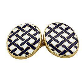 Tiffany & Co 18 Karat Yellow Gold Enamel Cufflinks