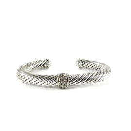 David Yurman Sterling Silver and 18K White Gold with 0.21ct. Diamond Cable Classics Bracelet