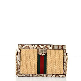 Gucci Ophidia Chain Shoulder Bag Raffia with Snakeskin Small