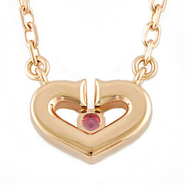 CARTIER 18K Pink Gold Pink sapphire C heart Necklace CHAT-248