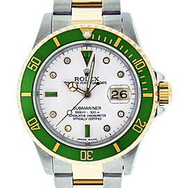 Rolex Submariner 16613 Stainless Steel & 18K Yellow Gold White Diamond and Emerald 40mm Mens Watch