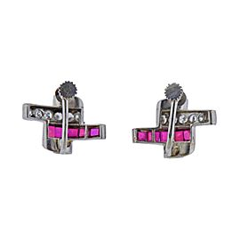 Midcentury Ruby Diamond Platinum Earrings