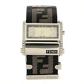 Fendi Zip Code Quartz Watch Stainless Steel and Zucca Canvas with Diamond Bezel 40