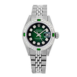 Rolex Ladies Datejust 6917 Green Vignette Diamond Dial and Bezel 26mm Womens Watch
