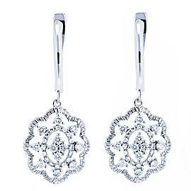 Diamond Floral Latch Back Drop Earrings 2/5 CTW 10k White Gold
