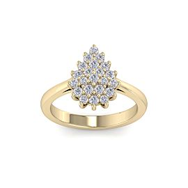 Pear Diamond Ring In 14K Gold with 0.59ct White Diamonds