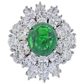 Emerald Cabochon Diamond Platinum Cocktail Ring