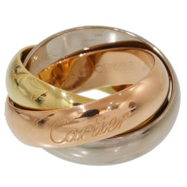Cartier 18K Yellow White and Rose Gold Trinity 3 Bands Ring Size 4.5