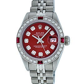 Rolex Datejust Stainless Steel & 18K White Gold with Diamond and Ruby 26mm Womens Watch