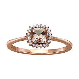 10K Rose Gold Morganite and Diamond Ring Size 8