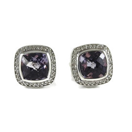 David Yurman Sterling Silver with 0.49ct. Diamond and Amethyst Albion Earrings