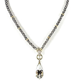 Lagos Sterling Silver 18K Yellow Gold .26tcw Glacier Teardrop White Topaz Diamond Necklace