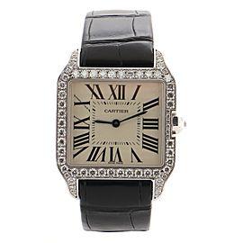Cartier Santos Dumont Quartz Watch White Gold and Alligator with Diamond Bezel 39