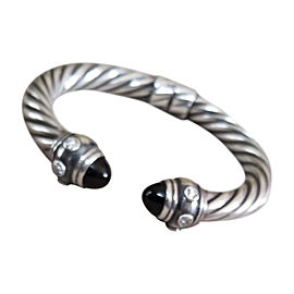 David Yurman Sterling Silver Renaissance Onyx Hematite and Diamond Cable Cuff Bracelet