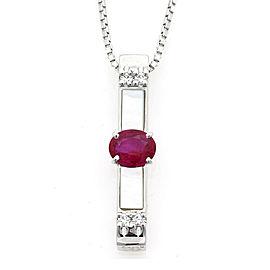 TASAKI Platinum diamond Ruby Vertical line Necklace CHAT-893
