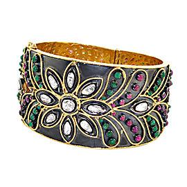 14k Yellow Gold Emerald Diamond Ruby Bracelet