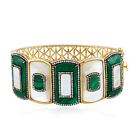 18k Yellow Gold Malachite Diamond Mother of Pearl Bracelet
