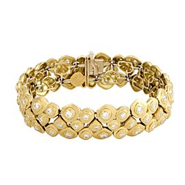 Alex Sepkus 18K Yellow Gold with Diamond Studed 3-Row Pebble Bracelet