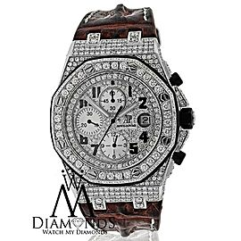 Audemars Piguet Royal Oak Offshore 26170ST.OO.1000ST.09 Brown Leather Strap Custom Diamond Watch