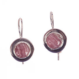 Sterling Silver & Pink Rhodochrosite Cabochon Earrings