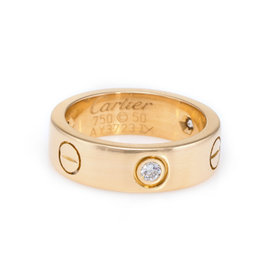 Cartier Love 18K Yellow Gold 3 Diamond Ring Size 5.25